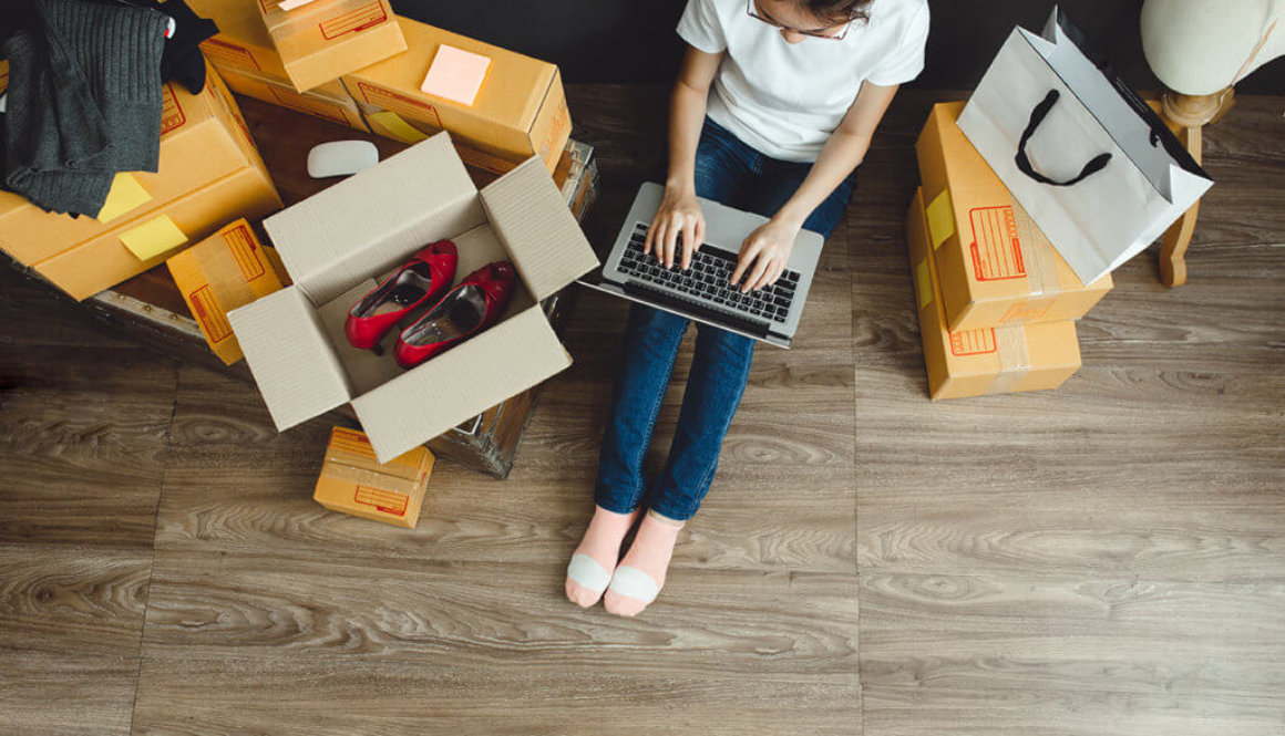 Asian teenager owner business woman work at home for online shop